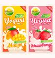 set mango and strawberry yogurt labels vector image