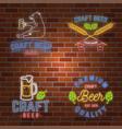 set neon signboard craft beer bar vector image