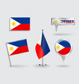 Set of Philippines pin icon and map pointer flags vector image vector image