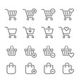 shopping cart related icons thin icon set black vector image vector image