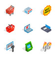 shopping elements icons isometric 3d style vector image vector image