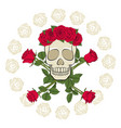 skull in a wreath decorated with red roses vector image