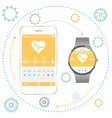 Smartphone and Smart Watch vector image vector image