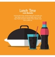 soda coke plate lunch time menu icon vector image vector image