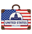 suitcase in colors american flag vector image
