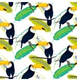 Toco toucan bird on banana leaves seamless vector image vector image