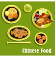 Traditional dinner of chinese cuisine flat style vector image