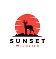 vintage rustic deer antler silhouette logo design vector image