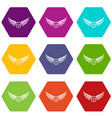 win wing icons set 9 vector image vector image