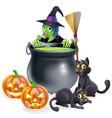 witch halloween scene vector image