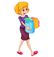Woman carrying laundry basket vector image vector image