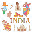 Indian colorful set of symbols vector image