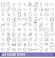 100 result icons set outline style vector image vector image
