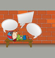 a boy with speech balloon vector image vector image
