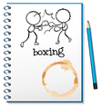 A notebook with two boxers at the cover page vector image vector image