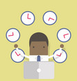 african businessman working with many clocks vector image vector image