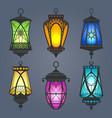 arabic lantern set vector image vector image