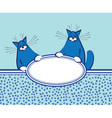 background with funny fat cats vector image