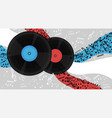 banner with vinyl records and notes image vector image vector image