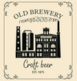 beer banner with brewery building in retro style vector image vector image