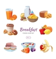 Breakfast food icons in cartoon style vector image