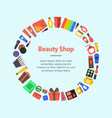 cartoon beauty cosmetics store banner card circle vector image vector image