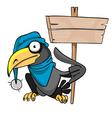 cartoon bird crow hat with a banner vector image vector image