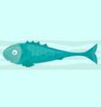 cartoon funny raw green fish icon vector image vector image