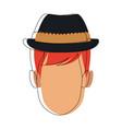 character man face cartoon hair contour vector image