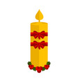 christmas candle with holly leaves icon vector image