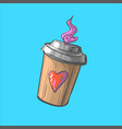 coffee to go cup cartoon hot vector image vector image