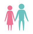 color silhouette pictogram couple holding hands vector image vector image
