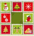 colorful christmas stamps vector image vector image