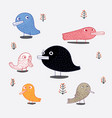 cute bird in theme vector image vector image