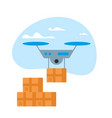 drone delivery box in blue sky with clouds icon vector image vector image