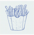 french fries hand drawn sketch on lined paper vector image vector image