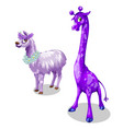 funny giraffe and lama in purple color vector image vector image