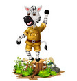 funny white zebra with rock adn white ivy flower vector image vector image