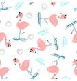 hand drawing skater flamingo pattern seamless vector image