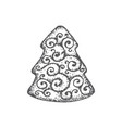 hand drawn christmas cookie pine vector image vector image