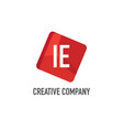 initial letter ie logo template design vector image vector image
