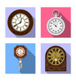 isolated object of clock and time icon set of vector image