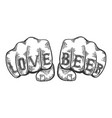 love beer words fist tattoo vector image vector image
