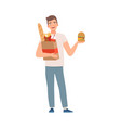 man character with fast food vector image