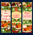 merry christmas dinner greeting banners vector image vector image