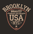 new york brooklyn usa sportswear emblem in shield vector image