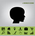 people head sign black icon at gray vector image vector image