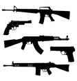 pistols and submachine guns vector image vector image