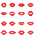 Set of red women s lips icons isolated on white vector image