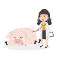 sick pig swine flu with doctor vector image